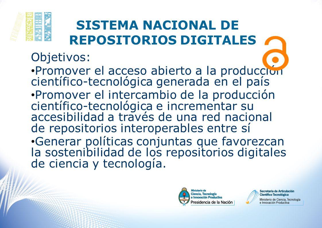 SISTEMA NACIONAL DE REPOSITORIOS DIGITALES Objetivos: Promover el acceso abierto a la producción científico-tecnológica generada en el país Promover e