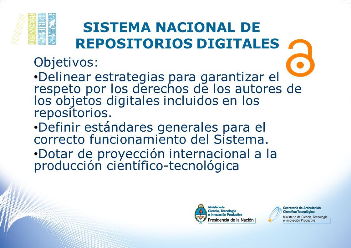 SISTEMA NACIONAL DE REPOSITORIOS DIGITALES Objetivos: Delinear estrategias para garantizar el respeto por los derechos de los autores de los objetos d