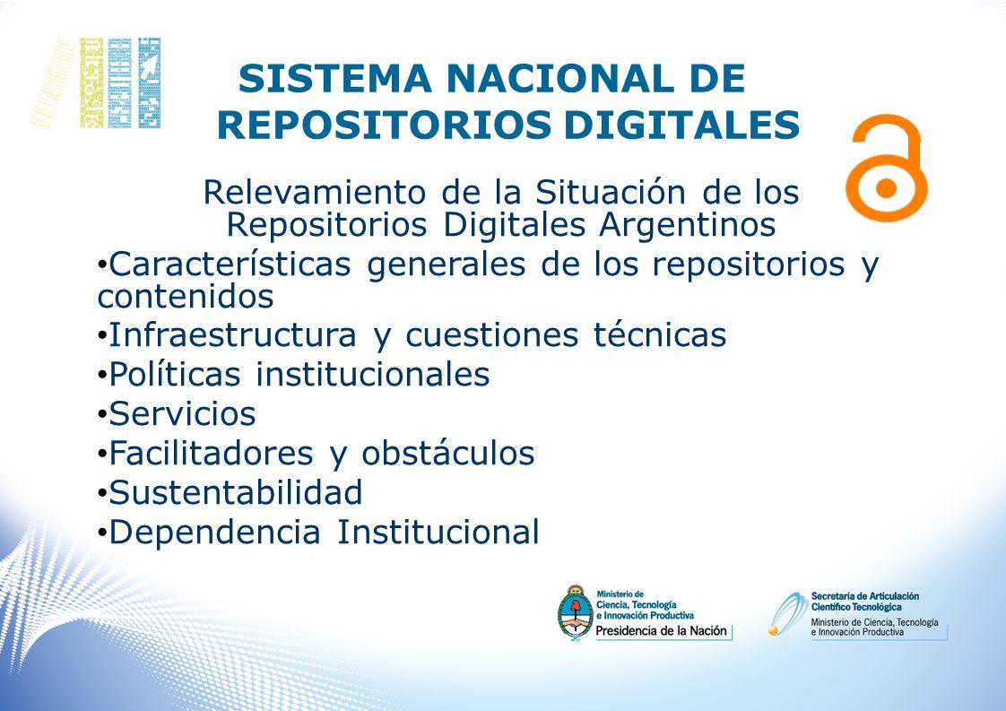 SISTEMA NACIONAL DE REPOSITORIOS DIGITALES Relevamiento de la Situación de los Repositorios Digitales Argentinos Características generales de los repo