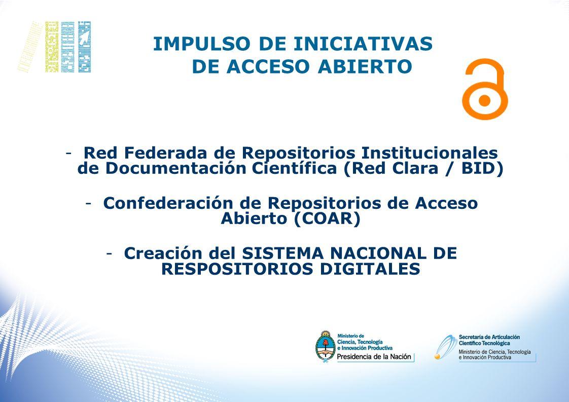 IMPULSO DE INICIATIVAS DE ACCESO ABIERTO -Red Federada de Repositorios Institucionales de Documentación Científica (Red Clara / BID) -Confederación de