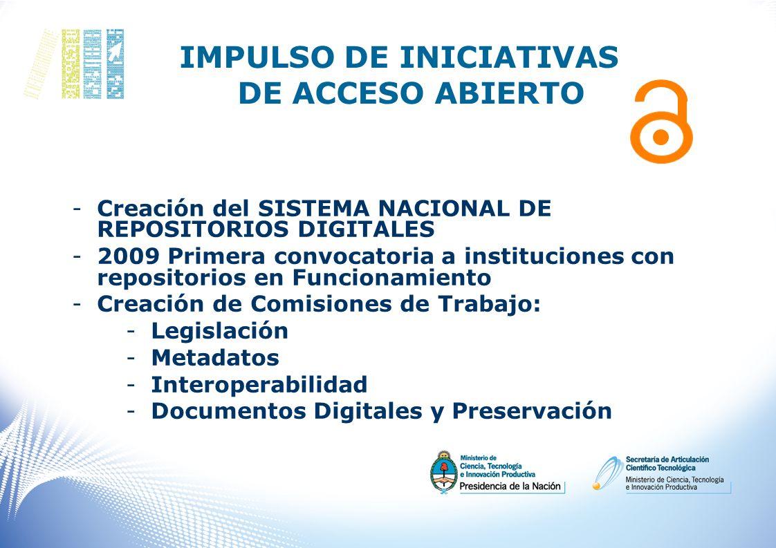 IMPULSO DE INICIATIVAS DE ACCESO ABIERTO -Creación del SISTEMA NACIONAL DE REPOSITORIOS DIGITALES -2009 Primera convocatoria a instituciones con repos