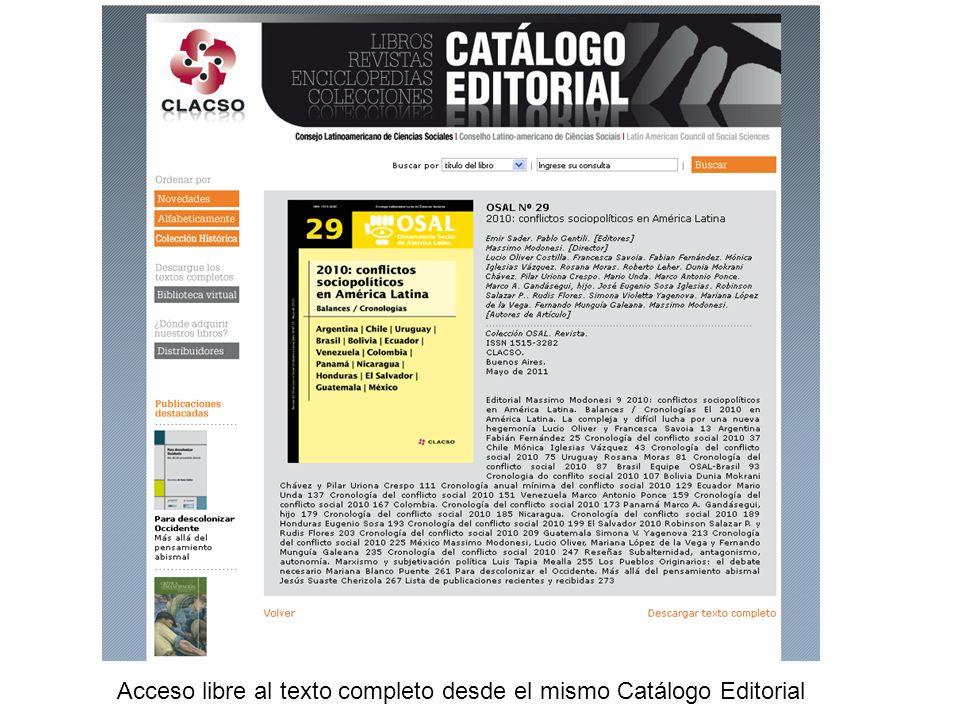 Acceso libre al texto completo desde el mismo Catálogo Editorial
