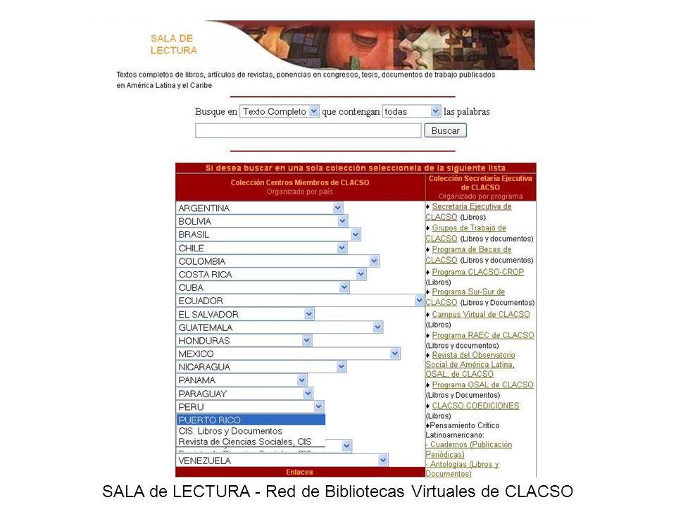 SALA de LECTURA - Red de Bibliotecas Virtuales de CLACSO