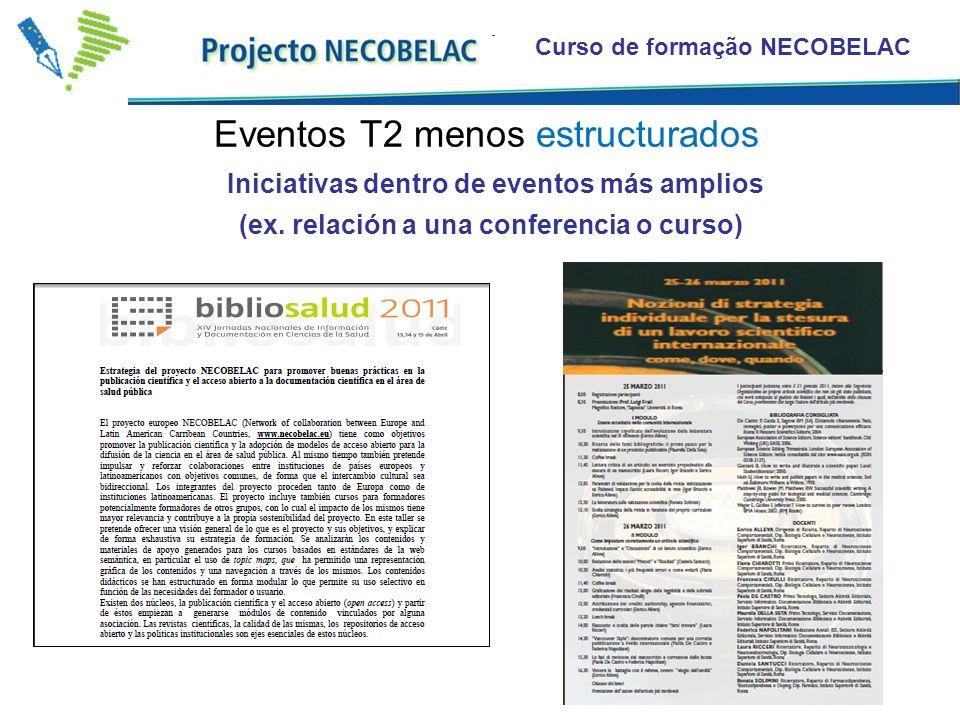 Curso de formação NECOBELAC Iniciativas dentro de eventos más amplios (ex. relación a una conferencia o curso) Eventos T2 menos estructurados