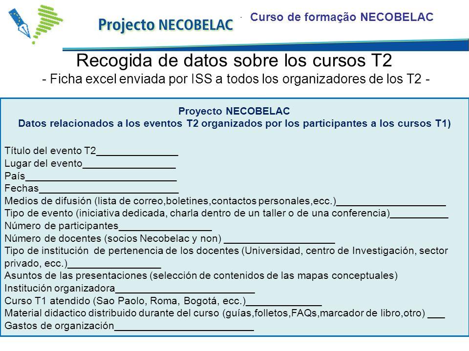 Curso de formação NECOBELAC Recogida de datos sobre los cursos T2 - Ficha excel enviada por ISS a todos los organizadores de los T2 - Título del event