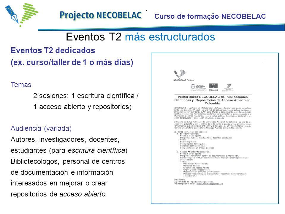 Curso de formação NECOBELAC Eventos T2 dedicados (ex. curso/taller de 1 o más días) Temas 2 sesiones: 1 escritura científica / 1 acceso abierto y repo