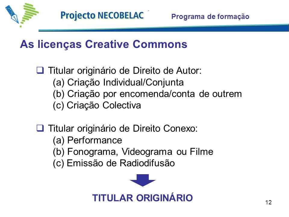 12 As licenças Creative Commons Programa de formação Titular originário de Direito de Autor: (a) Criação Individual/Conjunta (b) Criação por encomenda/conta de outrem (c) Criação Colectiva Titular originário de Direito Conexo: (a) Performance (b) Fonograma, Videograma ou Filme (c) Emissão de Radiodifusão TITULAR ORIGINÁRIO