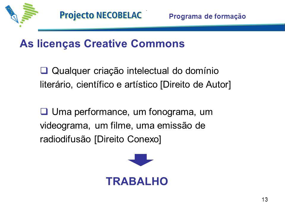 13 As licenças Creative Commons Programa de formação Qualquer criação intelectual do domínio literário, científico e artístico [Direito de Autor] Uma performance, um fonograma, um videograma, um filme, uma emissão de radiodifusão [Direito Conexo] TRABALHO