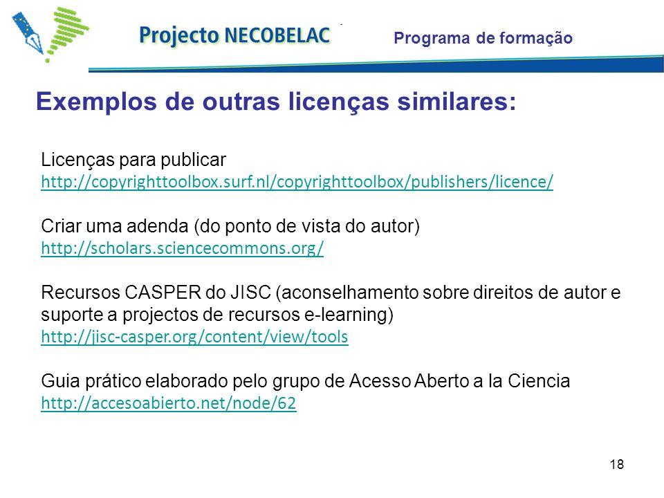 18 Exemplos de outras licenças similares: Programa de formação Licenças para publicar http://copyrighttoolbox.surf.nl/copyrighttoolbox/publishers/licence/ Criar uma adenda (do ponto de vista do autor) http://scholars.sciencecommons.org/ Recursos CASPER do JISC (aconselhamento sobre direitos de autor e suporte a projectos de recursos e-learning) http://jisc-casper.org/content/view/tools Guia prático elaborado pelo grupo de Acesso Aberto a la Ciencia http://accesoabierto.net/node/62
