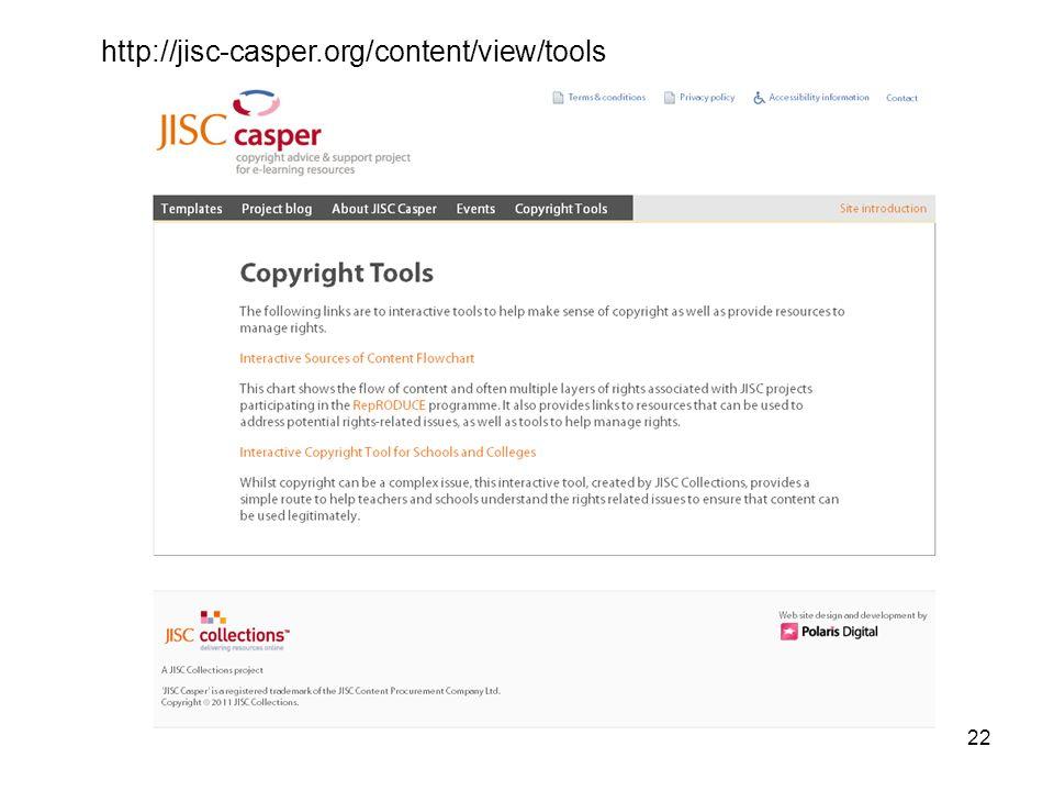22 http://jisc-casper.org/content/view/tools