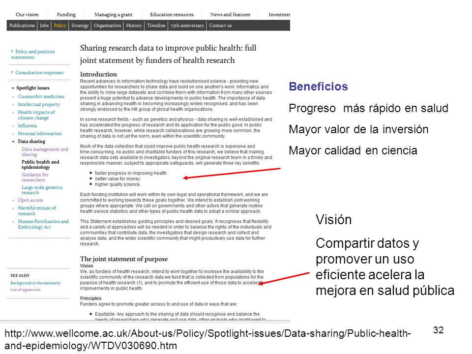 32 http://www.wellcome.ac.uk/About-us/Policy/Spotlight-issues/Data-sharing/Public-health- and-epidemiology/WTDV030690.htm Beneficios Progreso más rápi