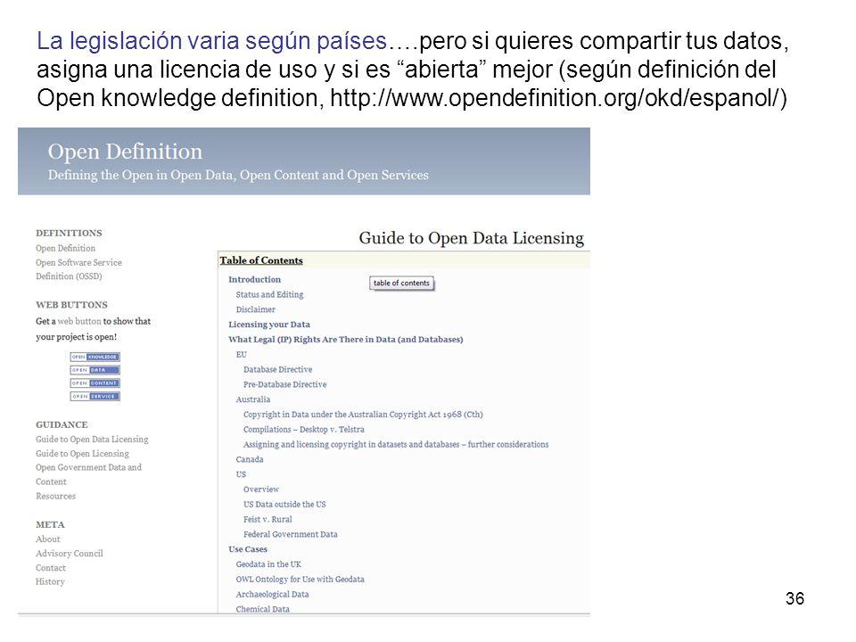 36 La legislación varia según países….pero si quieres compartir tus datos, asigna una licencia de uso y si es abierta mejor (según definición del Open knowledge definition, http://www.opendefinition.org/okd/espanol/)