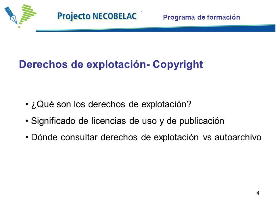 4 ¿Qué son los derechos de explotación? Significado de licencias de uso y de publicación Dónde consultar derechos de explotación vs autoarchivo Derech