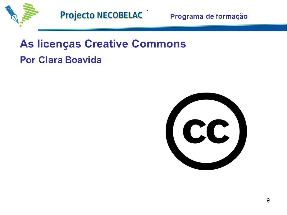 10 As licenças Creative Commons Programa de formação Nenhum direito reservado © Alguns direitos reservados Todos os direitos reservados