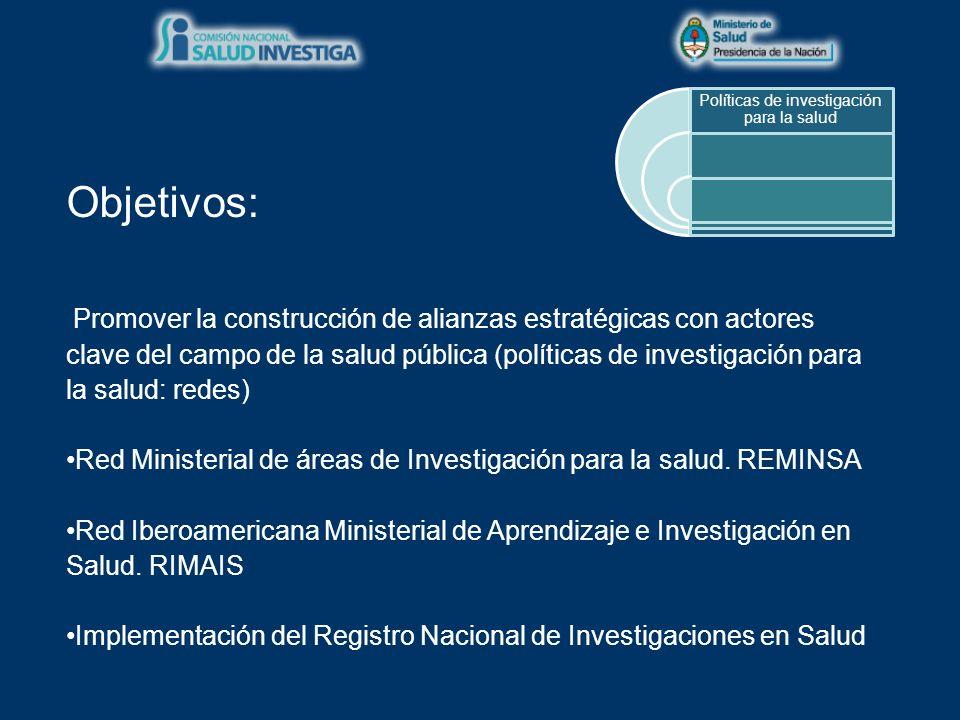 Objetivos: Fomentar la producción de investigaciones sanitarias Convocatoria general para becas individuales de iniciación y perfeccionamiento (clínicas y de salud pública) Convocatorias públicas temáticas/regionales por proyectos.