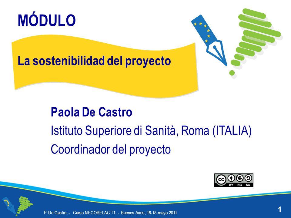 MÓDULO La sostenibilidad del proyecto Paola De Castro Istituto Superiore di Sanità, Roma (ITALIA) Coordinador del proyecto 1 P. De Castro - Curso NECO