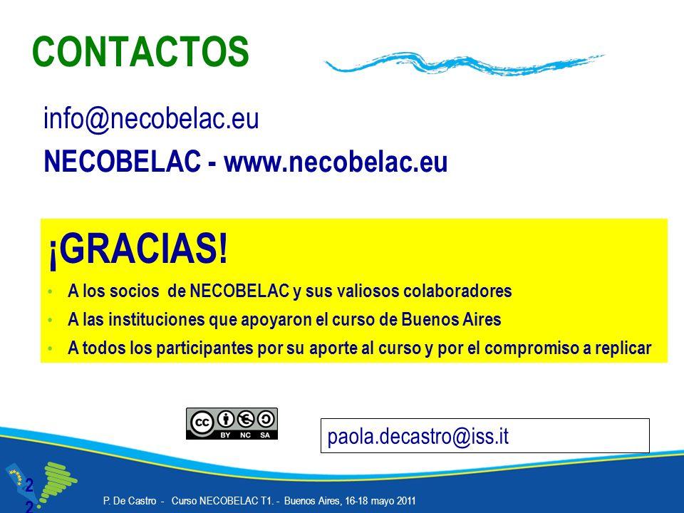 CONTACTOS22 info@necobelac.eu NECOBELAC - www.necobelac.eu paola.decastro@iss.it ¡GRACIAS! A los socios de NECOBELAC y sus valiosos colaboradores A la