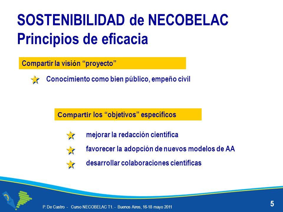 SOSTENIBILIDAD de NECOBELAC Principios de eficacia mejorar la redacción científica favorecer la adopción de nuevos modelos de AA desarrollar colaboraciones científicas P.
