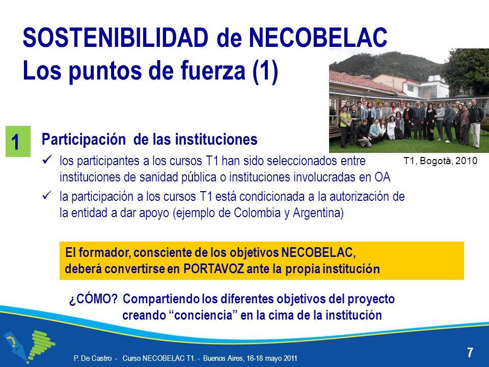 Participación de las instituciones los participantes a los cursos T1 han sido seleccionados entre instituciones de sanidad pública o instituciones involucradas en OA la participación a los cursos T1 está condicionada a la autorización de la entidad a dar apoyo (ejemplo de Colombia y Argentina) P.