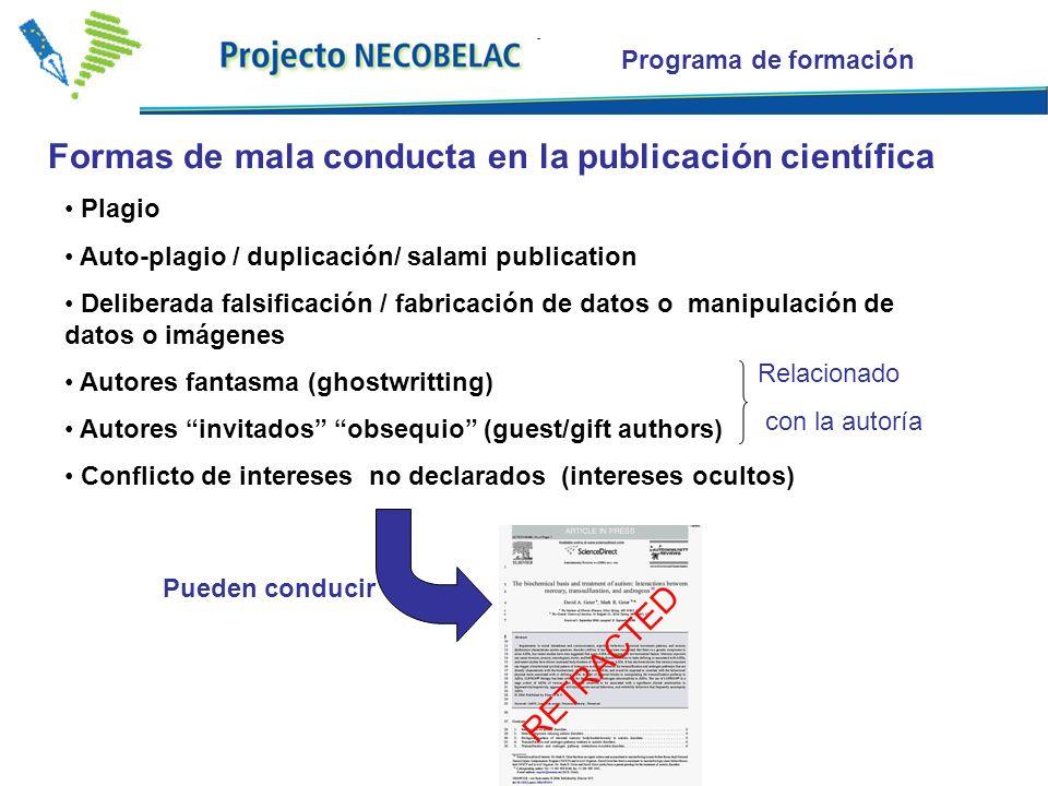 Plagio Auto-plagio / duplicación/ salami publication Deliberada falsificación / fabricación de datos o manipulación de datos o imágenes Autores fantas