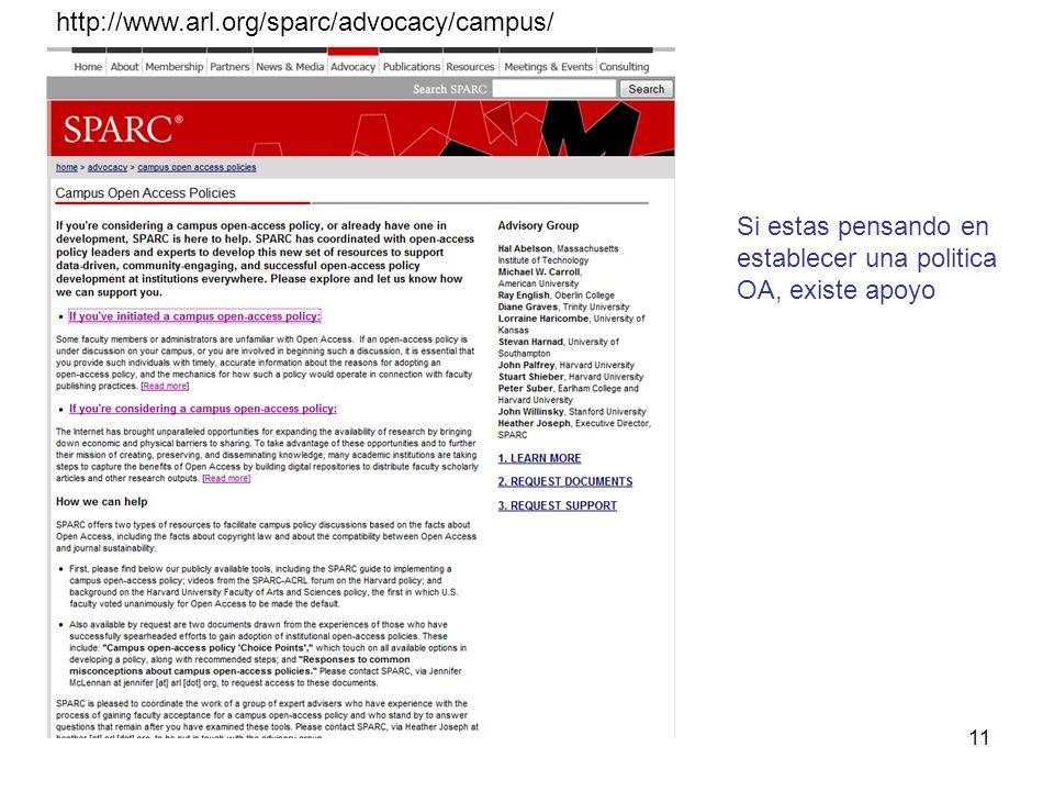 11 http://www.arl.org/sparc/advocacy/campus/ Si estas pensando en establecer una politica OA, existe apoyo