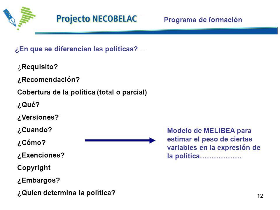 12 ¿Requisito. ¿Recomendación. Cobertura de la política (total o parcial) ¿Qué.