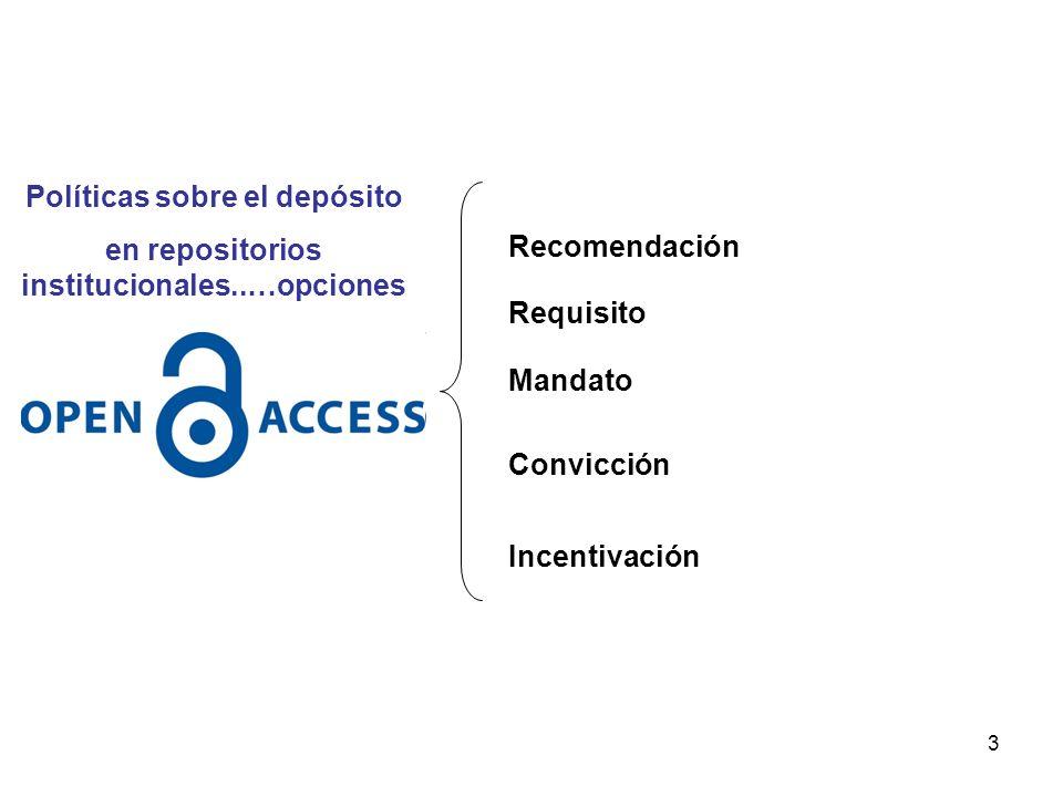 3 Recomendación Requisito Mandato Convicción Incentivación Políticas sobre el depósito en repositorios institucionales..…opciones