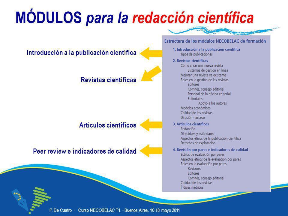 P. De Castro - Curso NECOBELAC T1. - Buenos Aires, 16-18 mayo 2011 Corso NECOBELAC T1. - Roma 18-20 ottobre 2010 11 MÓDULOS para la redacción científi