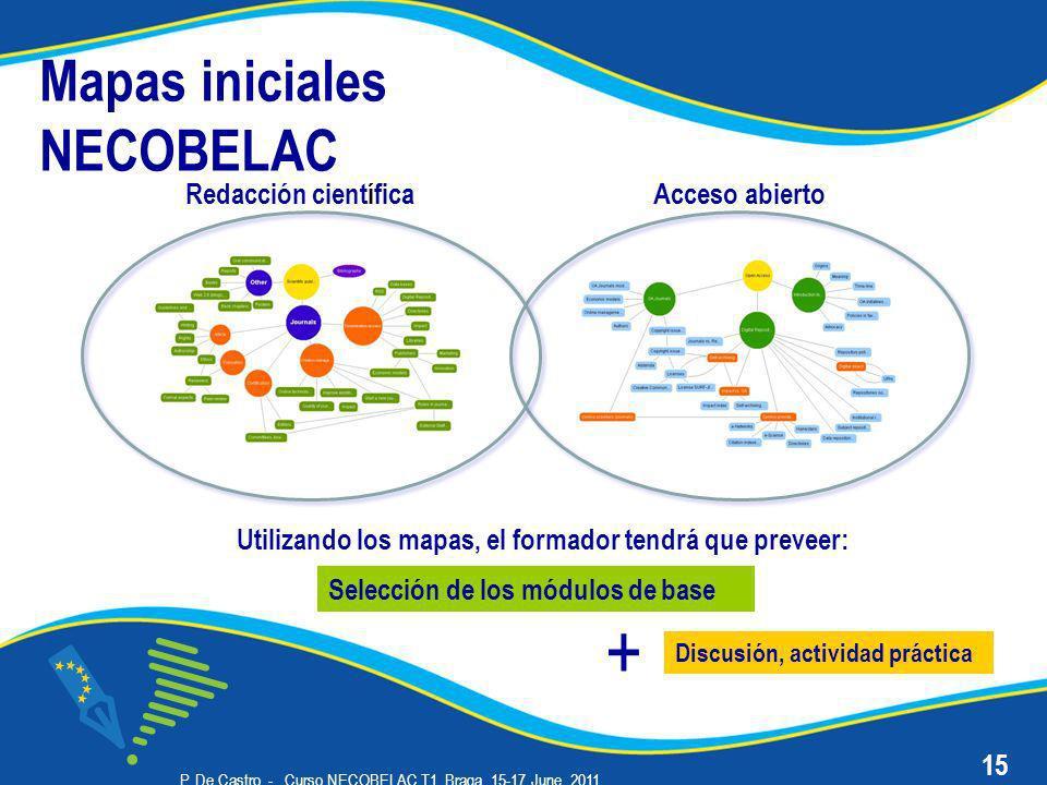 P. De Castro - Curso NECOBELAC T1. Braga, 15-17 June 2011 Mapas iniciales NECOBELAC Redacción científica 15 Acceso abierto Selección de los módulos de