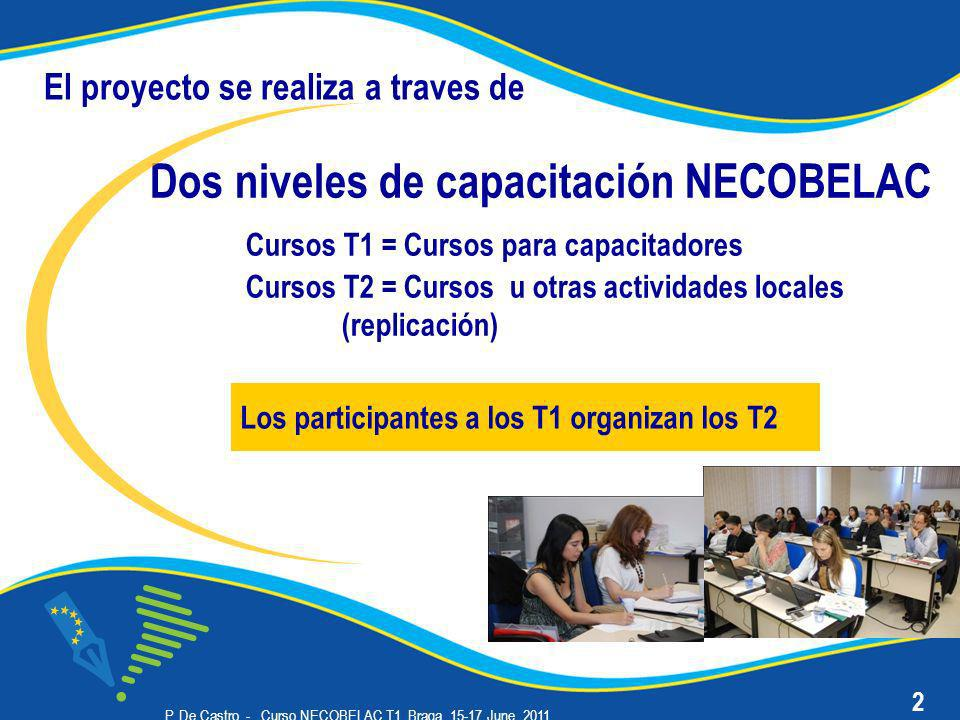 P. De Castro - Curso NECOBELAC T1. Braga, 15-17 June 2011 Dos niveles de capacitación NECOBELAC Cursos T1 = Cursos para capacitadores Cursos T2 = Curs