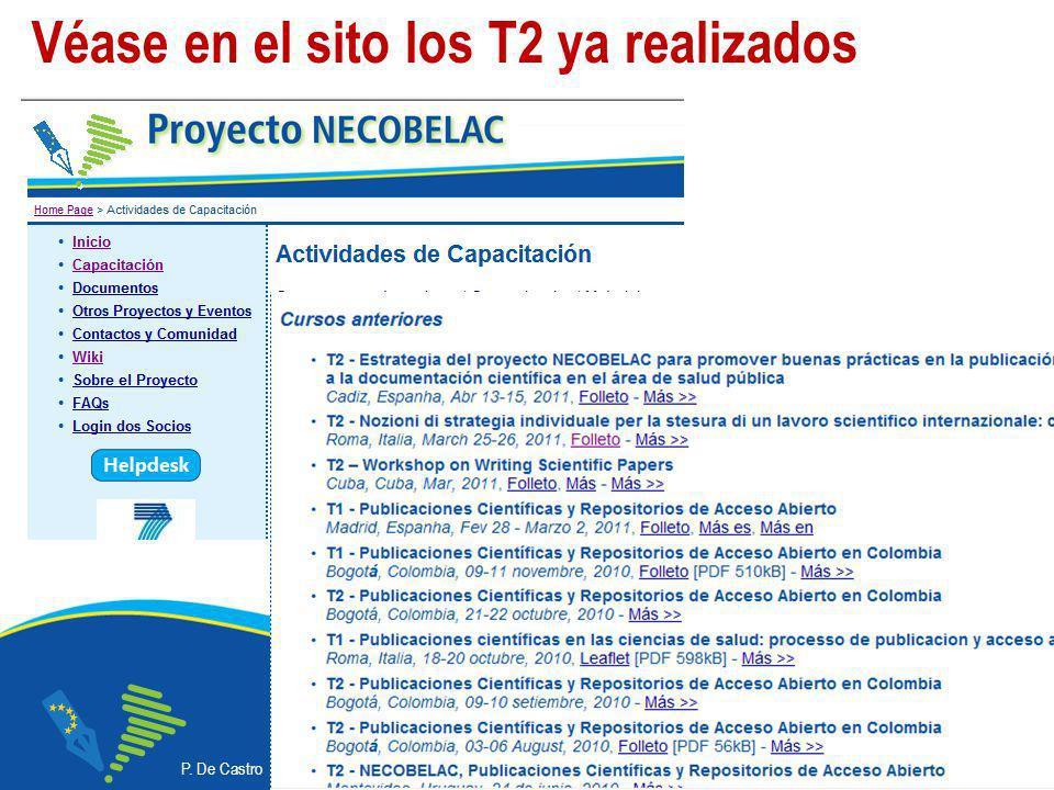 P. De Castro - Curso NECOBELAC T1. - Buenos Aires, 16-18 mayo 2011 Corso NECOBELAC T1. - Roma 18-20 ottobre 2010 20 Véase en el sito los T2 ya realiza