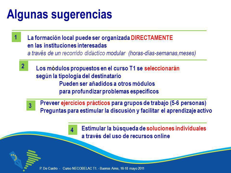 P. De Castro - Curso NECOBELAC T1. - Buenos Aires, 16-18 mayo 2011 Corso NECOBELAC T1. - Roma 18-20 ottobre 2010 21 Algunas sugerencias Estimular la b