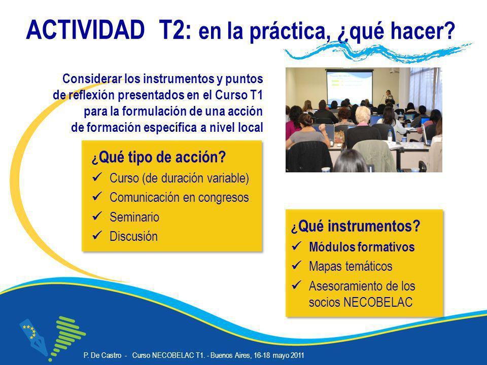 P. De Castro - Curso NECOBELAC T1. - Buenos Aires, 16-18 mayo 2011 Corso NECOBELAC T1. - Roma 18-20 ottobre 2010 ACTIVIDAD T2: en la práctica, ¿qué ha