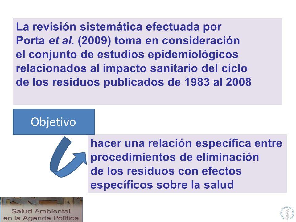 La revisión sistemática efectuada por Porta et al. (2009) toma en consideración el conjunto de estudios epidemiológicos relacionados al impacto sanita