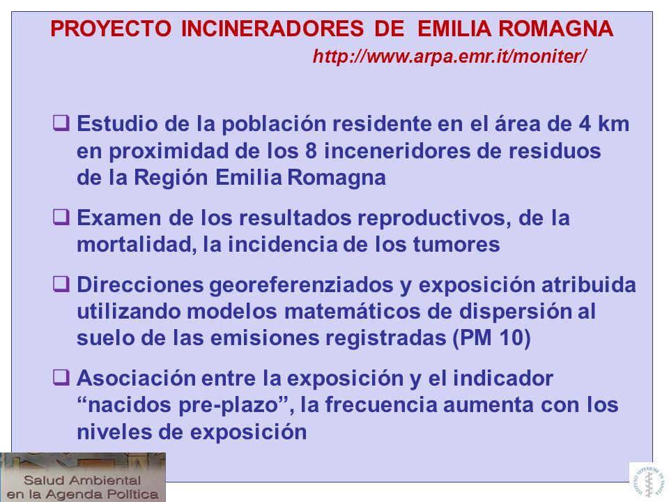 PROYECTO INCINERADORES DE EMILIA ROMAGNA http://www.arpa.emr.it/moniter/ Estudio de la población residente en el área de 4 km en proximidad de los 8 i