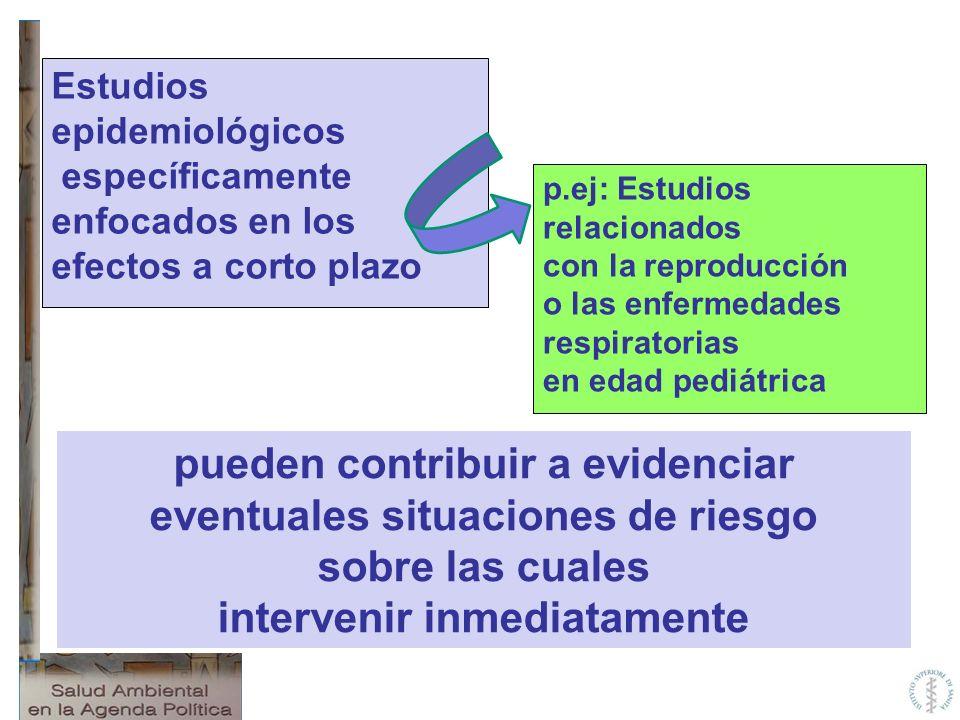pueden contribuir a evidenciar eventuales situaciones de riesgo sobre las cuales intervenir inmediatamente Estudios epidemiológicos específicamente en