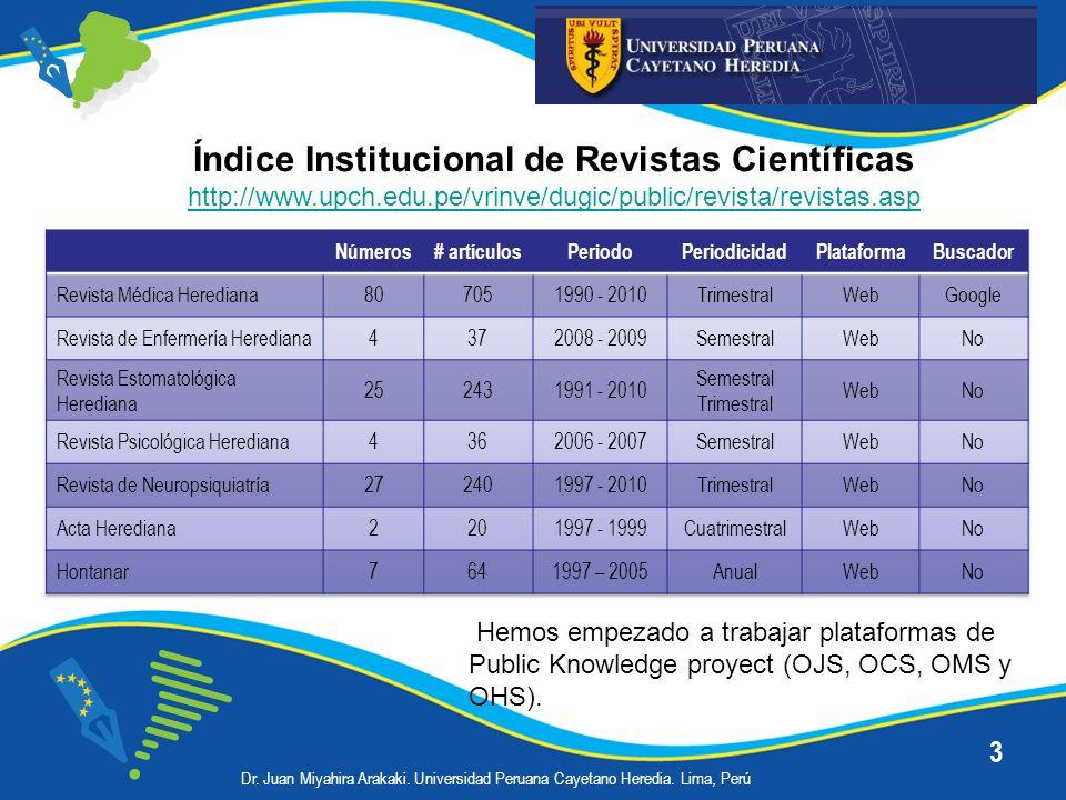 14 Repositorios de Revistas Científicas 2.SISBIB – UNMSM (Institucional) Incluye 124 títulos de revistas: 44 revistas de Ciencias de la Salud: Generales (2), Farmacia y Bioquímica (2), Medicina (32), Odontología (3), Psicología (4) y Veterinaria (1) Utiliza plataforma SciELO y buscador Google.