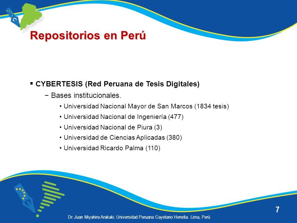 7 Repositorios en Perú CYBERTESIS (Red Peruana de Tesis Digitales) Bases institucionales. Universidad Nacional Mayor de San Marcos (1834 tesis) Univer