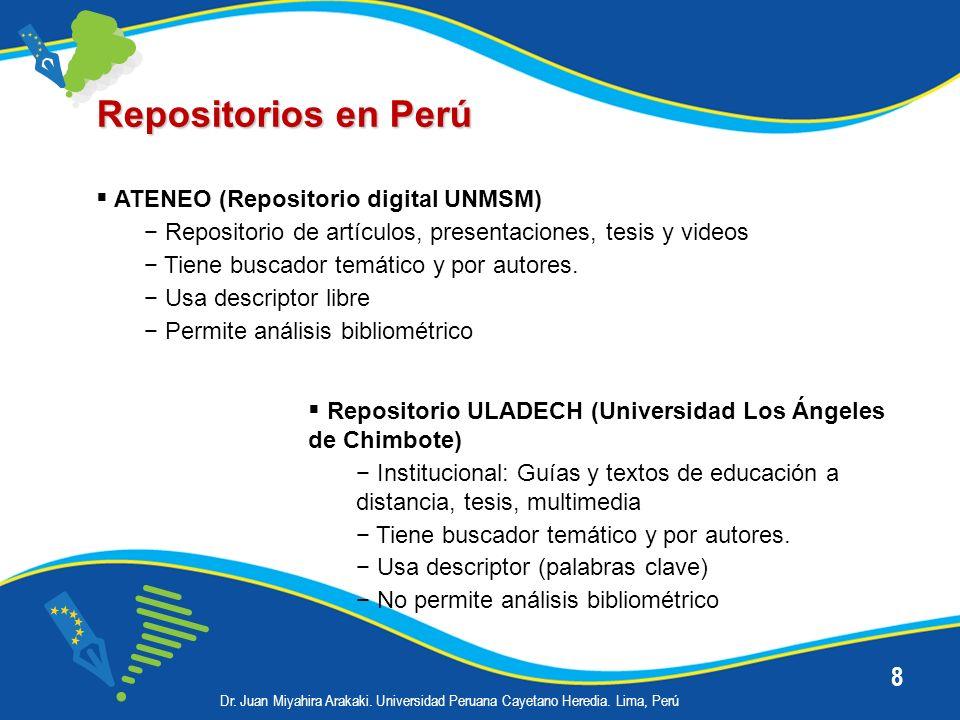8 Repositorios en Perú ATENEO (Repositorio digital UNMSM) Repositorio de artículos, presentaciones, tesis y videos Tiene buscador temático y por autor