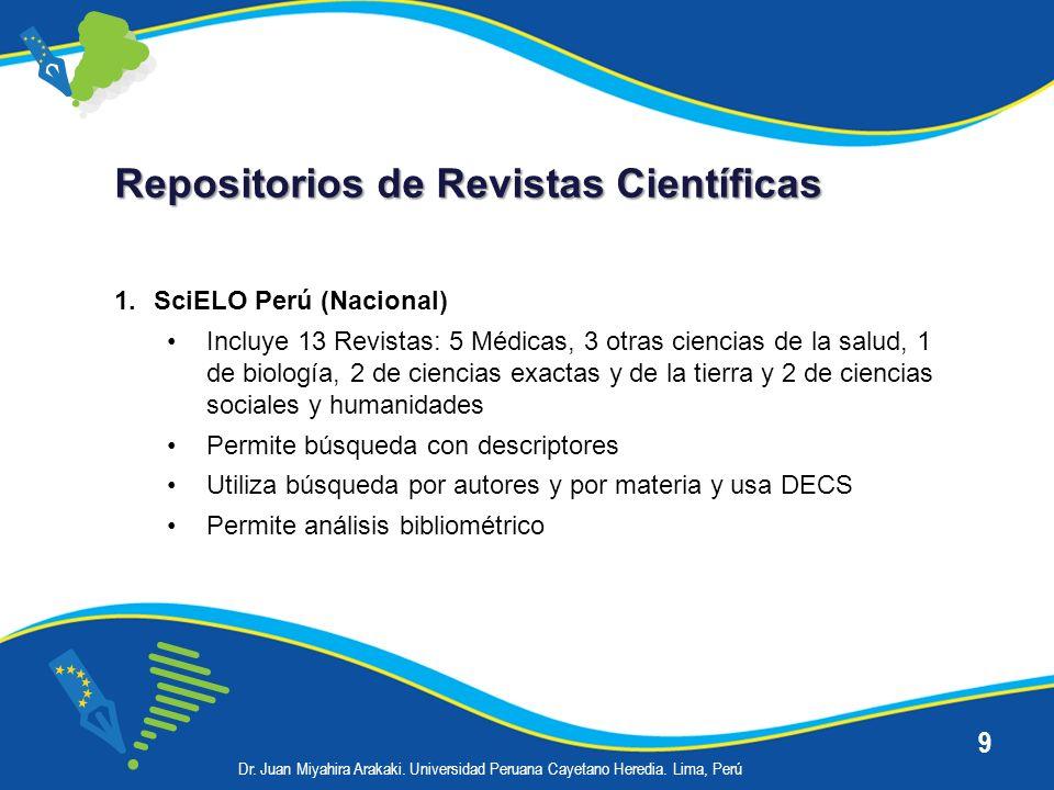 9 Repositorios de Revistas Científicas 1.SciELO Perú (Nacional) Incluye 13 Revistas: 5 Médicas, 3 otras ciencias de la salud, 1 de biología, 2 de cien