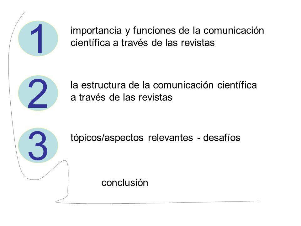 1 importancia y funciones de la comunicación científica a través de las revistas 2 la estructura de la comunicación científica a través de las revista