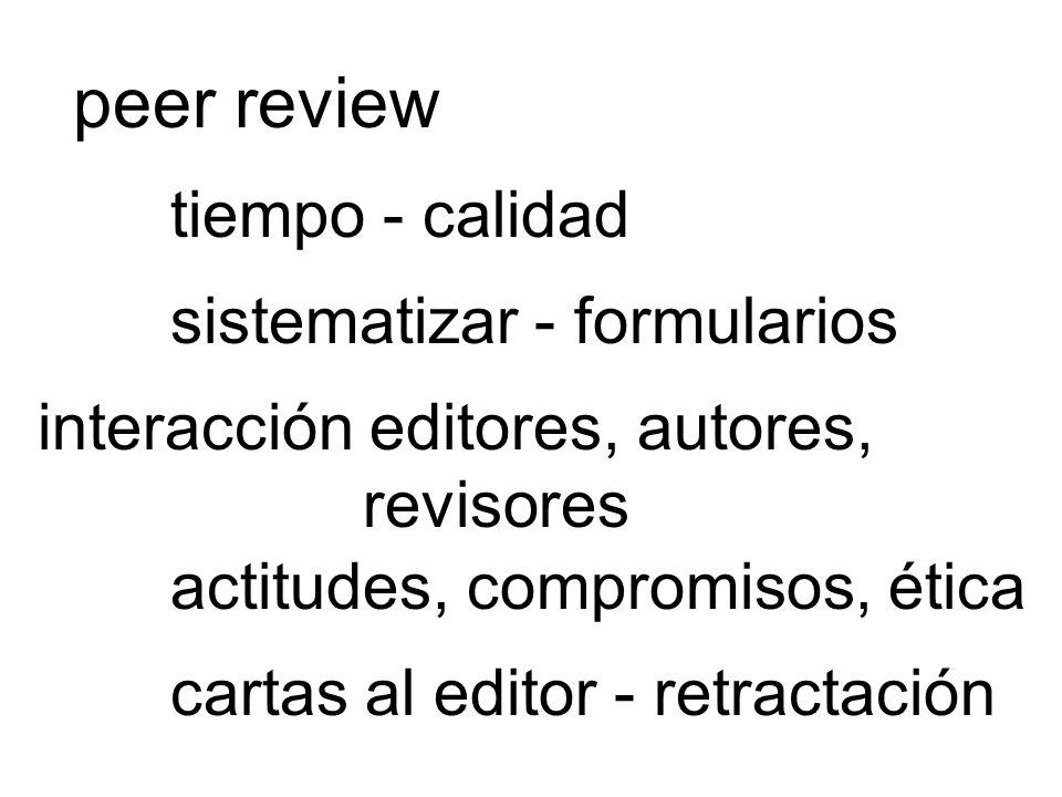 peer review tiempo - calidad sistematizar - formularios interacción editores, autores, revisores actitudes, compromisos, ética cartas al editor - retr