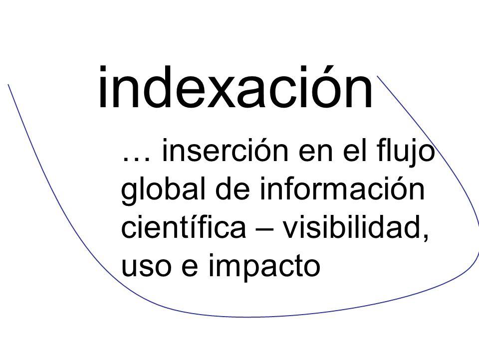 indexación … inserción en el flujo global de información científica – visibilidad, uso e impacto