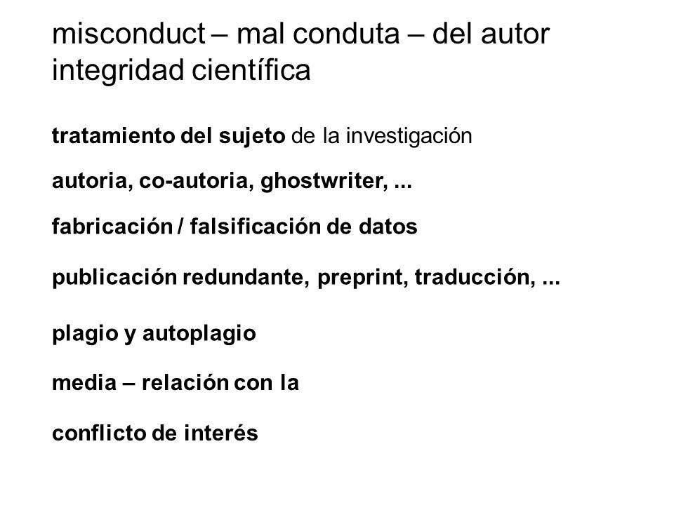 misconduct – mal conduta – del autor integridad científica tratamiento del sujeto de la investigación fabricación / falsificación de datos plagio y au