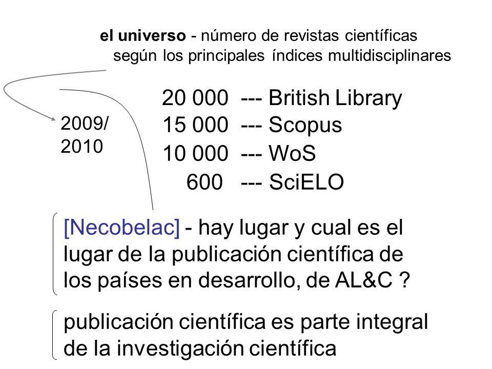 20 000 --- British Library 10 000 --- WoS 600 --- SciELO 2009/ 2010 15 000 --- Scopus el universo - número de revistas científicas según los principal