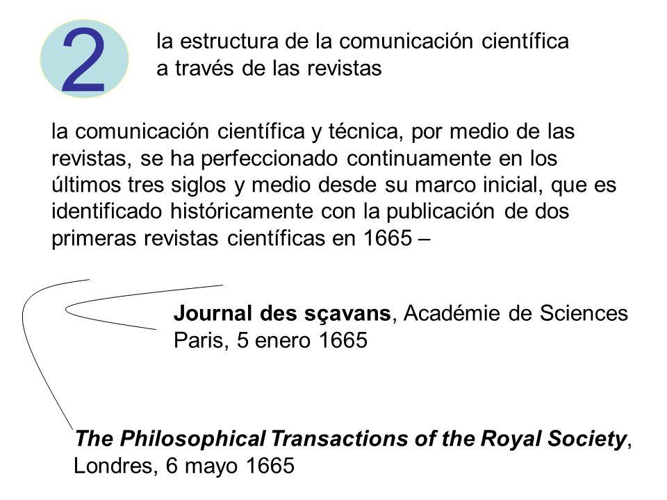 la comunicación científica y técnica, por medio de las revistas, se ha perfeccionado continuamente en los últimos tres siglos y medio desde su marco i