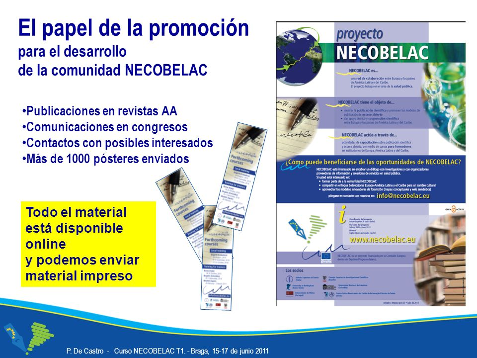 El papel de la promoción para el desarrollo de la comunidad NECOBELAC Publicaciones en revistas AA Comunicaciones en congresos Contactos con posibles interesados Más de 1000 pósteres enviados P.