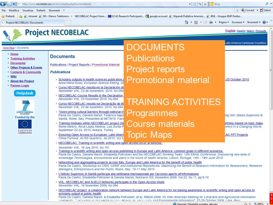 DOCUMENTS Publications Project reports Promotional material TRAINING ACTIVITIES Programmes Course materials Topic Maps P. De Castro - Curso NECOBELAC