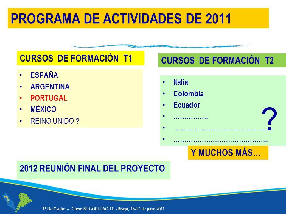 2012 REUNIÓN FINAL DEL PROYECTO PROGRAMA DE ACTIVIDADES DE 2011 Y MUCHOS MÁS… CURSOS DE FORMACIÓN T1 ESPAÑA ARGENTINA PORTUGAL MÉXICO REINO UNIDO .