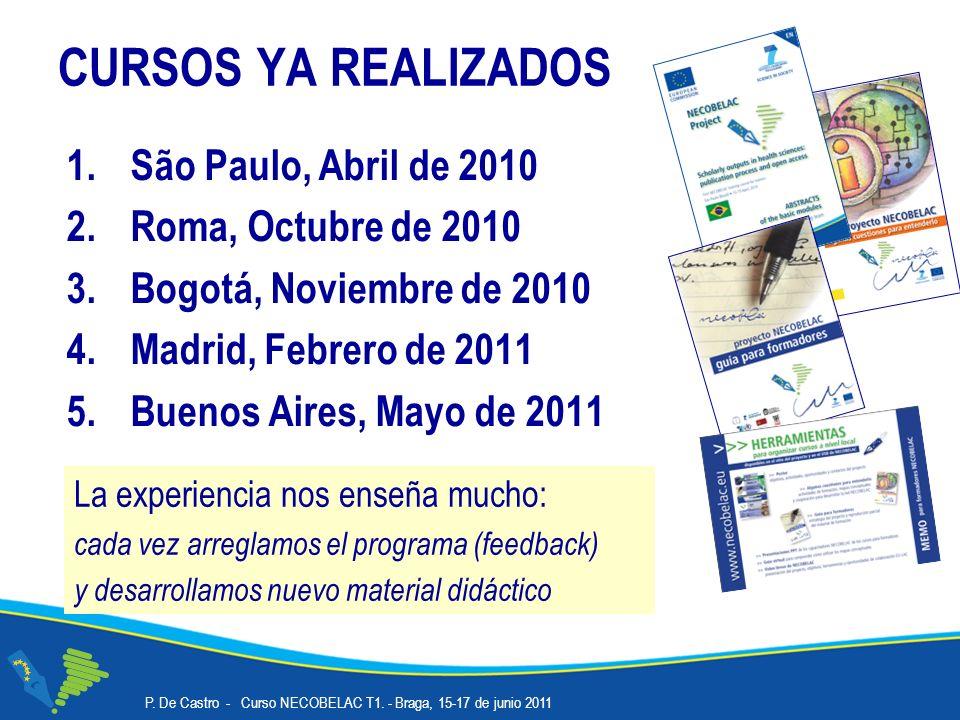 Proyecto NECOBELAC Duración www.necobelac.eu Informaciones: Inglés, Español, Portugués, Italiano 800.000 Euro Tres años: Febrero de 2009 – Enero de 2012 Idiomas Contribu ción de la Comisión UE P.